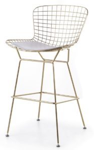 Available in gold, rose gold, chrome and white wire with white, black and a variety of colored chair pads.