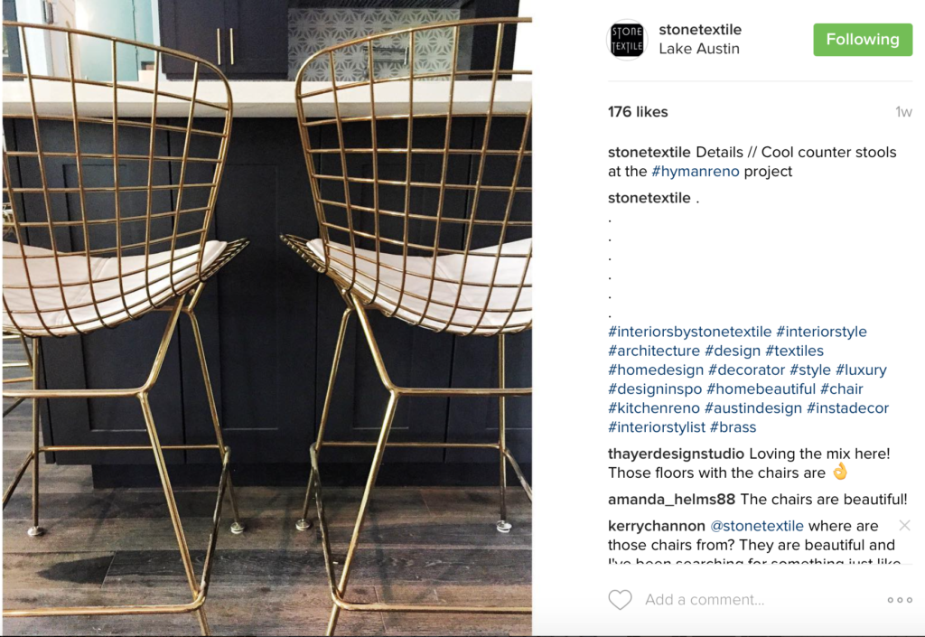 Fell in love with these counter stools on Stone Textile's instagram.
