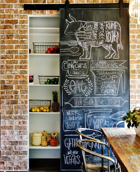 Fun, quirky use of chalkboard paint to hide a pantry.